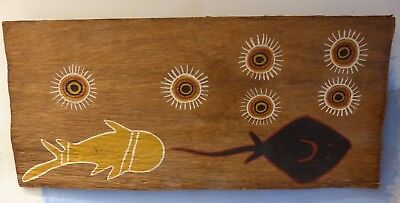 Genuine Old Aboriginal Bark Painting - Fish Under The Stars - Very Rare - L@@k