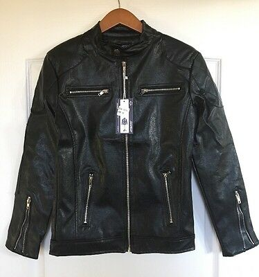 AOWOFS Men's Black Motorcycle Jacket Size Medium (fits like A Small) NWT NR