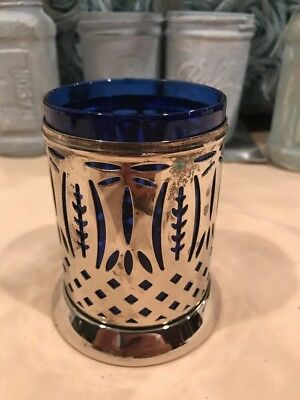 Antique Sterling Silver Cup Holder w Cobalt Blue Cup Insert