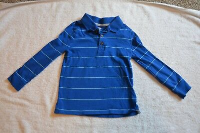 Old Navy Boys Size 4T Blue Striped Long-Sleeve Polo Shirt 100% Cotton