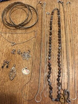 """Lot Vintage -Silver 925/ Sterling Jewelry-""""""""-Scrap Or Not"""""""" 104 Grams"""