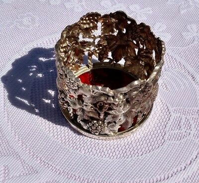 Vintage Silver Plated Wine / Champagne Bottle Holder - Grapes & Vines w/ Coaster