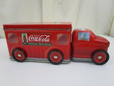 Coca-Cola Metal Tin Canister Truck Moving Wheels Red