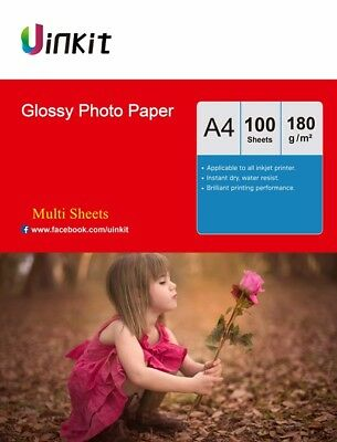 Uinkit 100-1000 Sheets A4 180Gsm High Glossy Photo Paper Inkjet Paper Printer