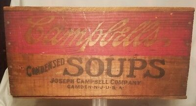 Antique Campbell Vegetable  Soup Advertising Shipping Crate