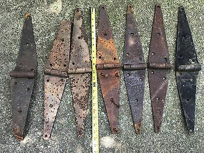 "VTG Lot of 7 Rustic Barn Door Old Gate 20""  Hinges Old Hardware Rusty Patina"