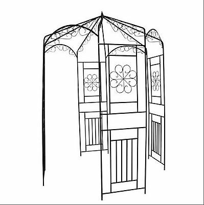 Iron Garden Arch Gate Home Entrance Path Backyard Decor Ornamental Feature Door