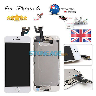 """iPhone 6 4.7"""" White LCD Touch Screen Digitizer Replacement & Home Button Camera"""