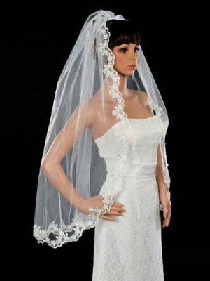 "White 1T 1 Tier Applique Scallop Lace Veil 36"" Long Fingertip Wedding Comb"