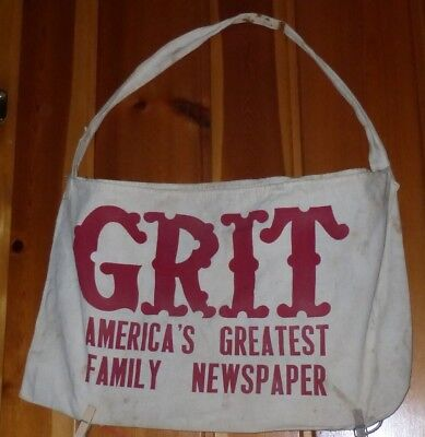 Vtg GRIT Newspaper Delivery Bag, Very Good Paint and Canvas, Stain to Strap