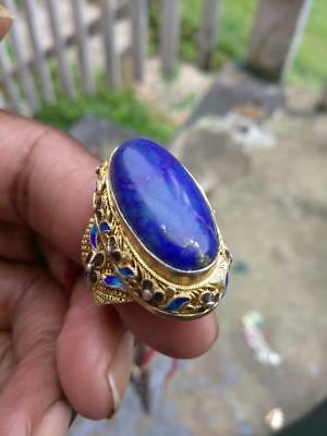 Vintage STERLING Gold Vermiel CHINESE filigree enamel LAPIS RING-7