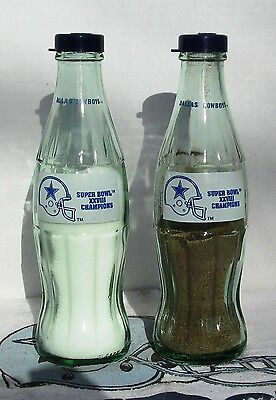 Coca-Cola Dallas Cowboy Super Bowl 28 Champions Salt Pepper Coke Bottle Tailgate