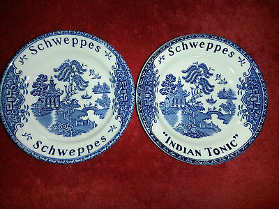 Enoch Wedgewood Blue Willow Tunstall Ltd. Schweppes Rare Indian Tonic 2 Plates