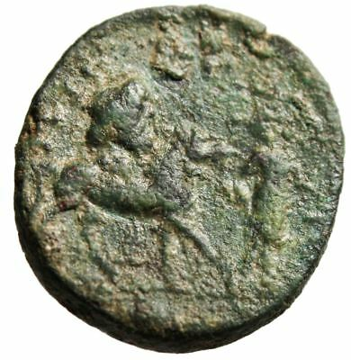"""Septimius Severus AE25 """"Spear Bust & Zeus Head Atop Horse"""" Syri a Extremely Rare"""