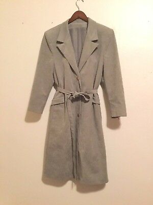 Vintage Grey Ultra Suede Women's Trench Coat  Great Cond. Small/Med 1980s SOFT