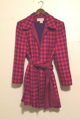 Awesome Vintage 1980s Women's Wool Coat Pink Purple Houndstooth Med/Large Wrap