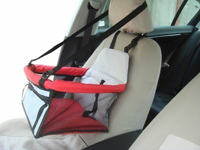 Brand New Portable Pet-Safe Car Booster Adjustable strap Red 40W x 40D x 26H cm