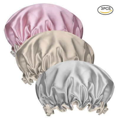 3x Waterproof Bathing Hair Hat Elastic Shower Cap Women Salon Head Cover Bonnet