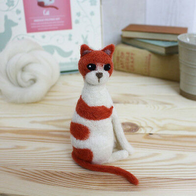 ADORABLE CAT needle felt kit boxed with foam and colour instructions