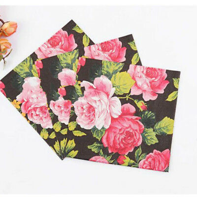 20 Pcs/set Wedding Birthday Party Rose Floral Paper Napkins 33X33CM Dulcet