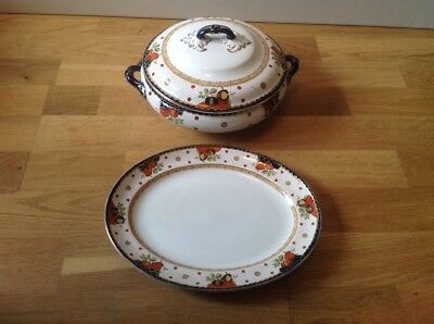 Losol Ware Keeling & Co. Paisley(1 Twin Handled & Lidded Tureen 1Serving Platter