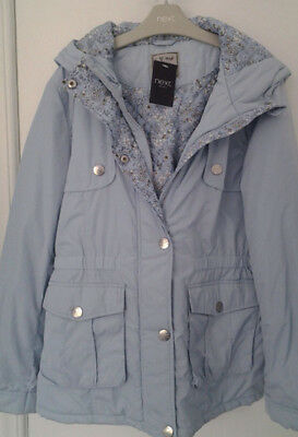 Next Girls Blue Hooded  Jacket / Coat Age 15 Years BNWT