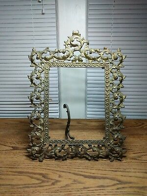 Antique Brass Easel Table Mirror Frame