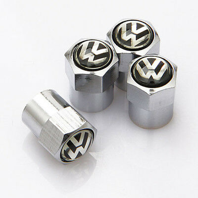 4x Universal Car Wheel Tire Dust Stems Cover Tyre Valve Caps Logo For VW CC GOLF