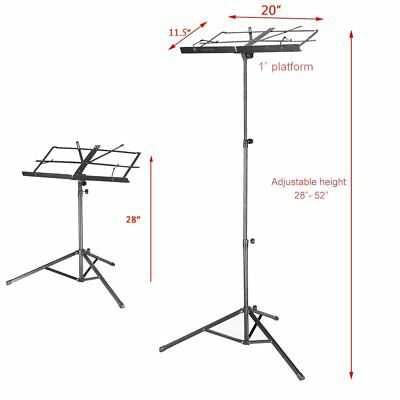 "28-52"" Metal Adjustable Music Sheet Stand Holder Folding Foldable&Carry Case Bag"