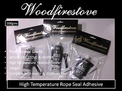 WOOD FIRE STOVE & WOOD HEATER DOORS HIGH TEMPERATURE ROPE SEAL ADHESIVE (100gm)