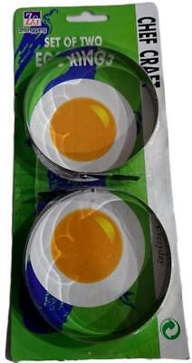 New set of 2 Non Stick Black Egg Rings Pan Fry High Quality Fried Metal Steel