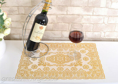 2 Pcs Gilded Table Cloth Heat Insulation Floral Rectangle Placemat table Cover