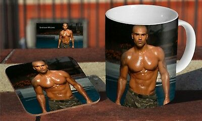 Shemar Moore Body Ceramic Coffee MUG + Wooden Coaster Gift Set