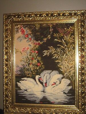 Stunning Hand Made Tapestry Of Swans On A Lake Luxurious Timber Gilt Frame