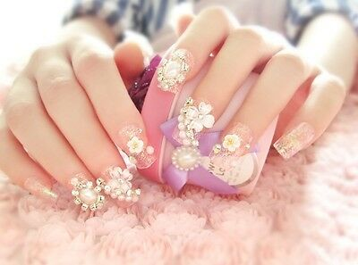 A12''Japanese Style Press-On Bling Bling Drill Nail Tips Completed Fake Nails*