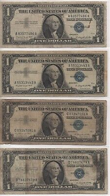USA - 10x BLUE SEAL - One Dollar Notes in average condition