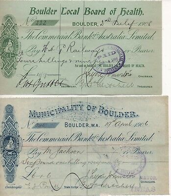 WESTERN AUSTRALIA - 4 Vintage Cheques in excellent condition - OVER 100 YRS OLD