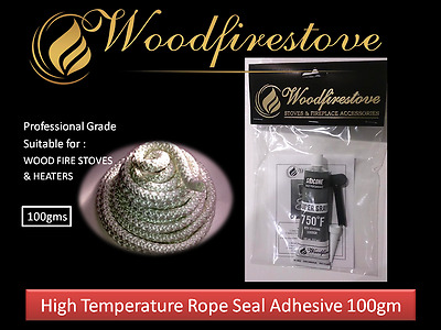 WOOD FIRE STOVE & WOOD HEATER DOORS HIGH TEMPERATURE ROPE SEAL ADHESIVE 100gm
