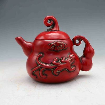 Chinese Collectable Red Coral Hand Carved Pumpkin type Teapot&Lid