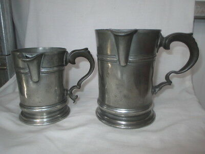 Superb Pair Early Victorian Pewter Tankards by Gerardin & Watson.
