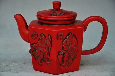 Beautiful Chinese Red Coral Hand Carved Old Men Teapot