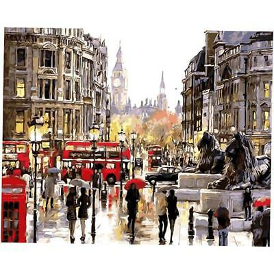 Digital Acrylic Painting Kit Paint by Number Kit Canvas London in the Rain