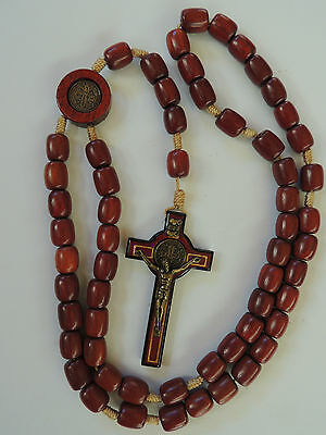 St Benedict Large Wooden Rosary Bead-Brazillian Cherrywood Wood Cross-Necklace
