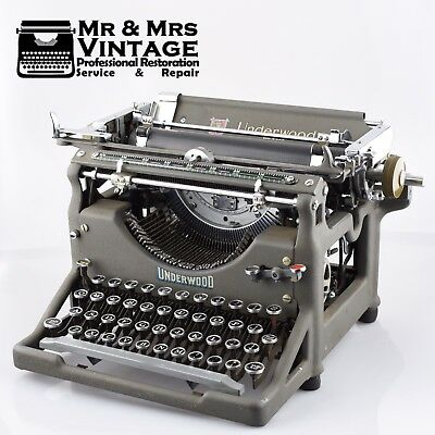Pristine Underwood No 5 Typewriter Limited Edition Grey Working Restored rare