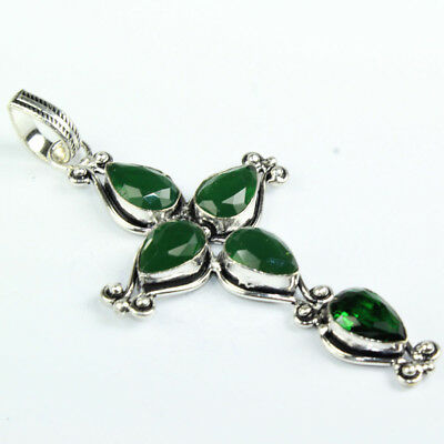 925 Sterling Silver Overlay Emerald Cross Pendent Handmade Fashion Jewelry