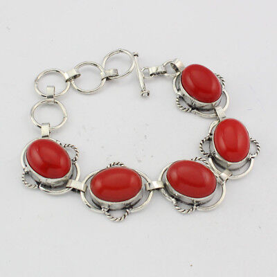 925 Sterling Silver Overlay Red Coral Bracelet Handmade Fashion Jewellery
