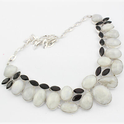 925 Sterling Silver Overlay Rainbow Moonstone Black Onyx Necklace Jewellery