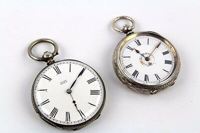 Collection of 2 x Vintage SILVER CASED Pocket-Watches WORKING Mixed Designs 91g