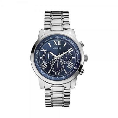 GUESS HORIZON Watch Men W0379G3 WK Wrist new steinless Steel Grey chrono casual