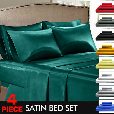 Super Soft Silky Satin Flat & Fitted Sheet Set Single/KS/Double/Queen/King Size